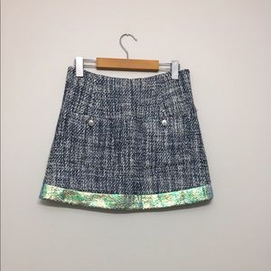 Theyskens' Theory Tweed Holographic Skirt Sz 0